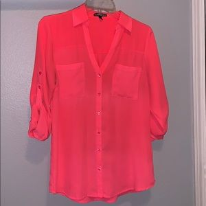 Bright pink button up